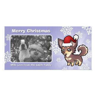 Christmas Chihuahua (long coat) Photo Card
