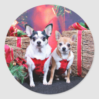 Christmas - Chihuahua - Moo Moo and Ginger Round Stickers