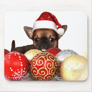 Christmas chihuahua puppy mouse pad