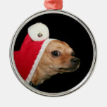 Christmas Chihuahua Round Metal Christmas Ornament