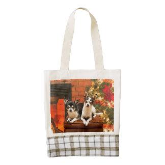 Christmas Chihuahua's Zazzle HEART Tote Bag