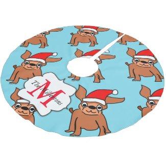 Christmas Chihuahua Santa Brushed Polyester Tree Skirt