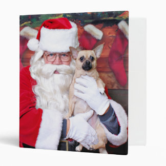 Christmas - Chihuahua - Theodore 3 Ring Binder