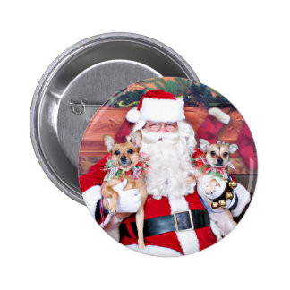 Christmas - Chihuahua X - Daisy and Rocky Pinback Button