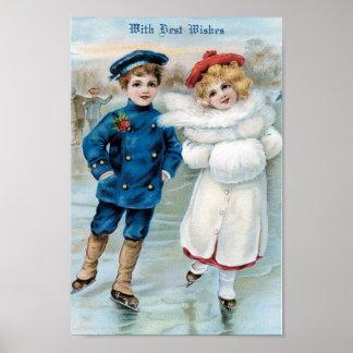 Christmas, Children ice skating Poster