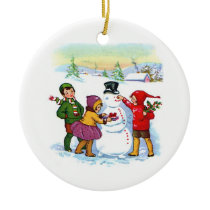 Christmas-Children, Snowman, and quote date Ceramic Ornament
