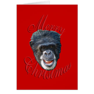 Christmas Chimpanzee Greeting Card