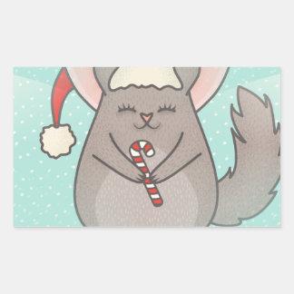 christmas chinchillas rectangular sticker