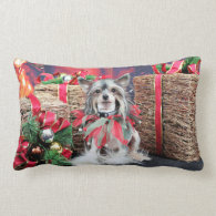 Christmas - Chinese Crested Dog - Sheeba Pillow
