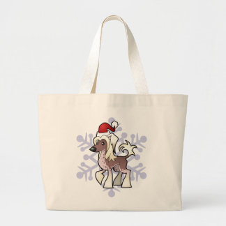 Christmas Chinese Crested (hairless) Jumbo Tote Bag