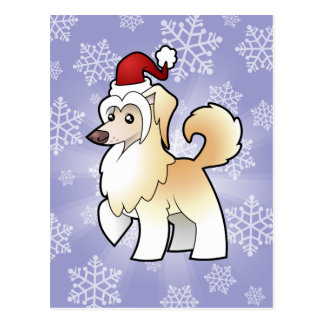 Christmas Chinese Crested (powderpuff) Postcard