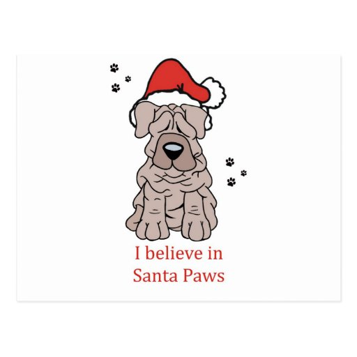 Christmas Chinese Shar Pei Post Card