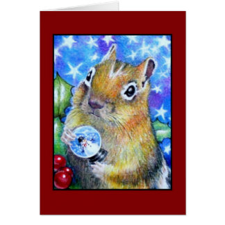 Christmas Chipmunk Greeting Card