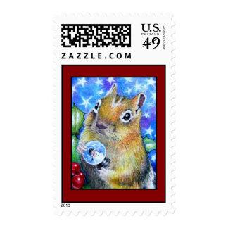 Christmas Chipmunk Postage stamp