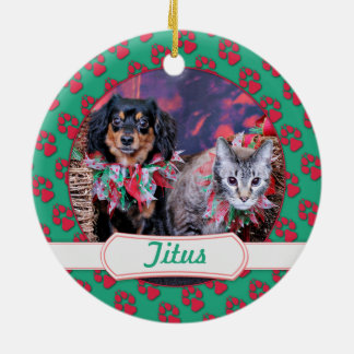 Christmas - Chiweenie - Titus - Kitty Double-Sided Ceramic Round Christmas Ornament