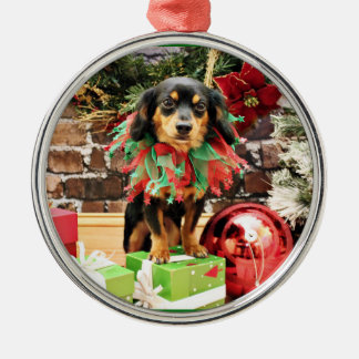 Christmas - Chiweenie - Titus Round Metal Christmas Ornament