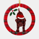 Christmas Chocolate Lab Puppy Double-Sided Ceramic Round Christmas Ornament