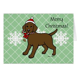 Christmas Chocolate Labrador Puppy Cartoon Greeting Cards
