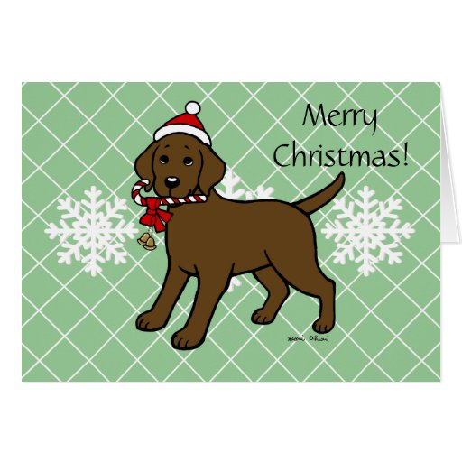 Christmas Chocolate Labrador Puppy Cartoon Card