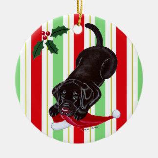 Christmas Chocolate Labrador Puppy Christmas Ornaments