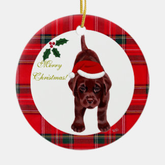 Christmas Chocolate Labrador Puppy Santa Hat Christmas Tree Ornament