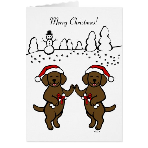 Christmas Chocolate Labradors Cartoon Card