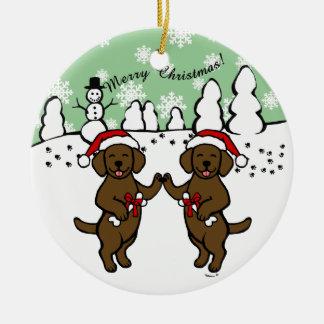 Christmas Chocolate Labradors Cartoon Ornaments
