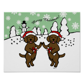 Christmas Chocolate Labradors Cartoon Poster