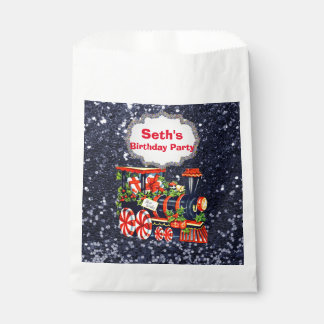 Christmas Choo Choo Train Blue Faux Glitter Favor Bag