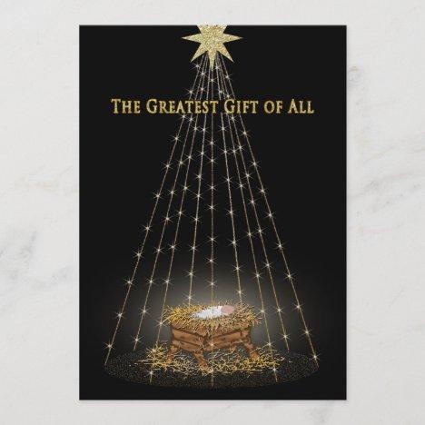 Christmas Christian Manger Greeting Holiday Card