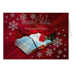 Christmas - Christian - Pastor/family - Red Card at Zazzle
