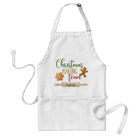 "Christmas - ""Christmas Baking Team""- Personalize Adult Apron"