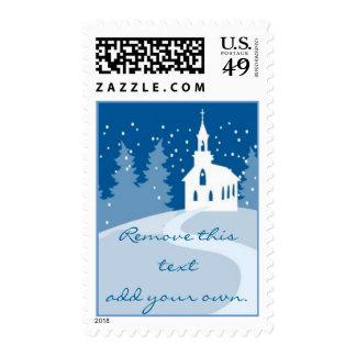 Christmas Church custom postage stamp