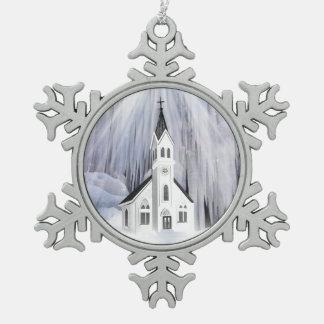 Christmas Church Snowflake Pewter Christmas Ornament