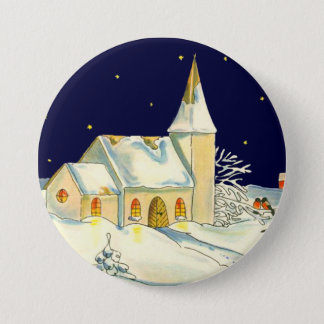 Christmas church winter scene button
