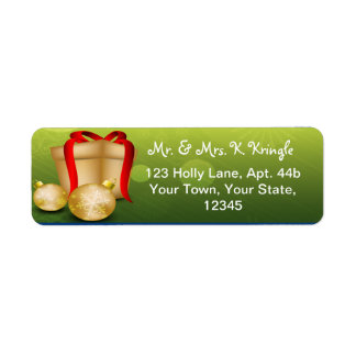 Christmas Cift Gold and Green Address Labels
