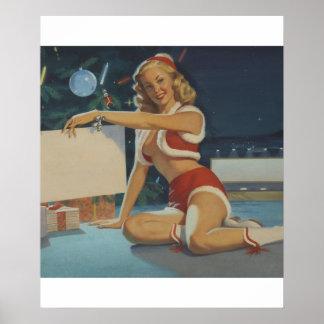 Christmas, circa 1950 Pin Up Art Poster