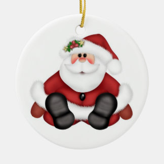 Christmas Circle Ornament/Santa Claus Ceramic Ornament
