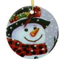 Christmas Circle Ornament/Snowman Ceramic Ornament