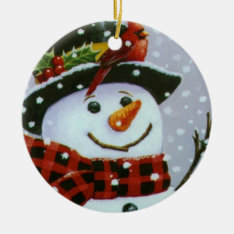 Christmas Circle Ornament/snowman Ceramic Ornament at Zazzle