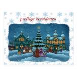 Christmas city postcard with snow edge Netherlands