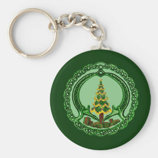 Christmas Claddagh Basic Round Button Keychain