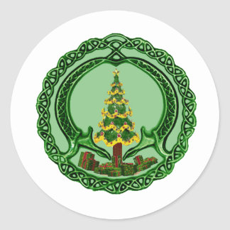 Christmas Claddagh Classic Round Sticker