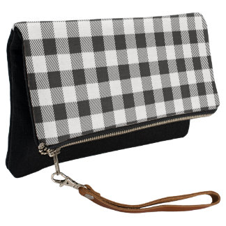 Christmas classic Buffalo check plaid pattern B&W Clutch