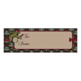Christmas Classic Skinny Gift Tag Double-Sided Mini Business Cards (Pack Of 20)