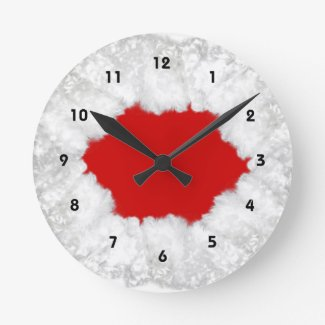 Christmas wallclock with Santa's beard in white surrounding the red  clock face
