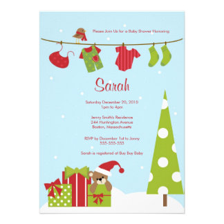 Christmas Clothesline Baby Boy Shower Invite