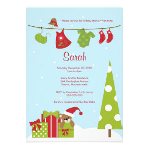 Christmas Clothesline Baby Girl Shower Invite