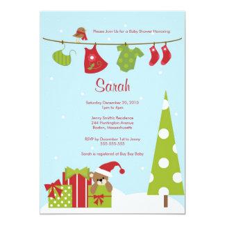 Christmas Clothesline Baby Girl Shower Invite