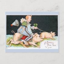 Christmas clowns, pigs & good luck symbols postcard